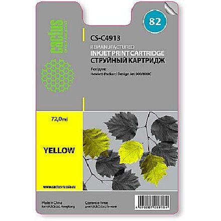 Картридж Cactus CS-C4913 №82 совместимый с hp аналог hp 82 (C4913A) желтый