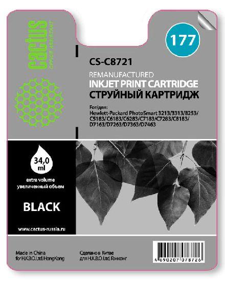 Картридж Cactus CS-C8721 №177 совместимый с hp аналог hp 177 черный (C8721HE)