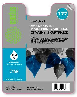 Картридж Cactus CS-C8771 №177 совместимый с hp аналог hp 177 голубой (C8771HE)