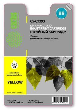 Картридж Cactus CS-C9393 №88XL совместимый с hp аналог hp 88XL (C9393AE) желтый повышенной емкости