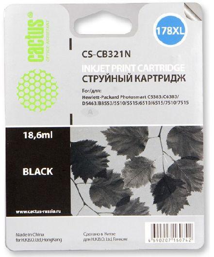 Картридж Cactus CS-CB321N 178XL черный совместимый аналог hp 178XL