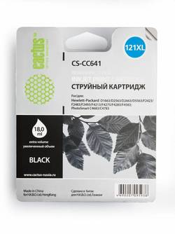 Картридж Cactus CS-CC641 (№121XL) черный повышенной емкости совместимый аналог hp 121XL (CC641HE)