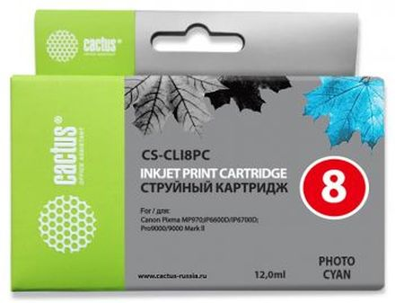 Картридж Cactus CS-CLI8PC фото-голубой для Canon