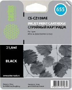 Картридж Cactus CS-CZ109AE черный аналог картриджа hp 655 bk