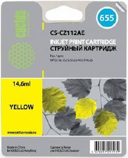 Картридж Cactus CS-CZ112AE желтый аналог картриджа hp 655 y