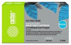 Картридж Cactus CS-F6U16AE №953XL голубой повышенной емкости аналог картриджа hp 953XL (F6U16AE)