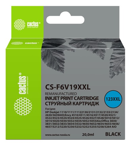 Картридж Cactus CS-F6V19XXL черный повышенной емкости аналог картриджа hp 123XL
